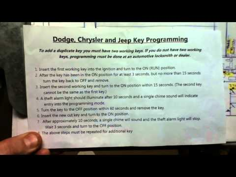 Dodge, Chrysler & Jeep Key Programming Instructions