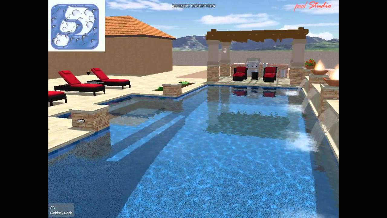 Aa slide pool pool studio 3d swimming pool design youtube for Pool studio 3d design