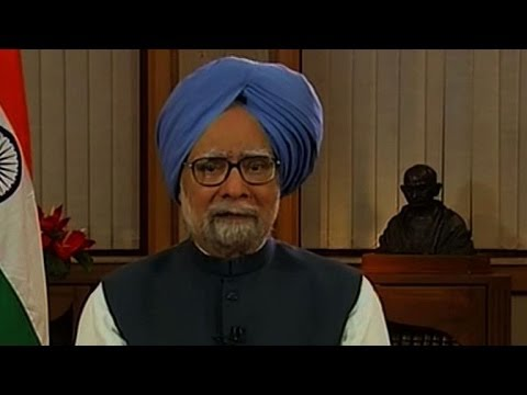 Outgoing Indian PM Manmohan Singh addresses the nation