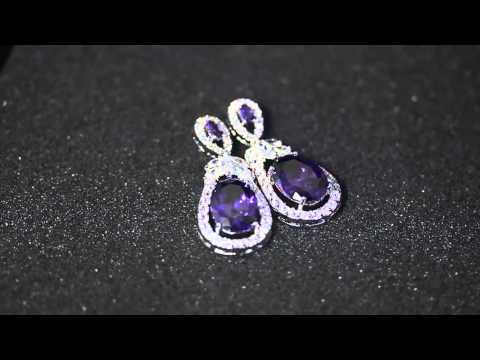 Venus Jewelry Store - Earring - Silver-Plated Purple-Gem Eggplant-shaped Earring