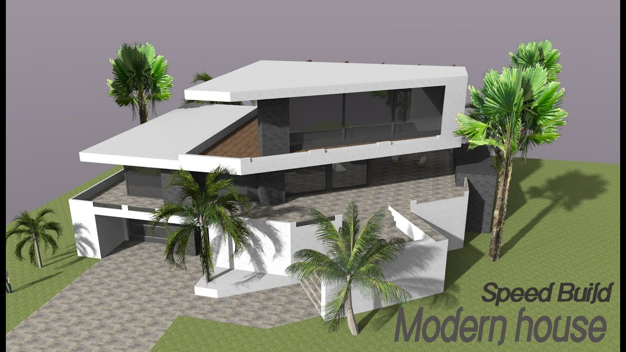 Google sketchup speed building modern house youtube for Modern house sketchup