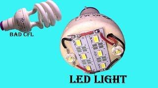 canvert old broken CFL into super led light at home