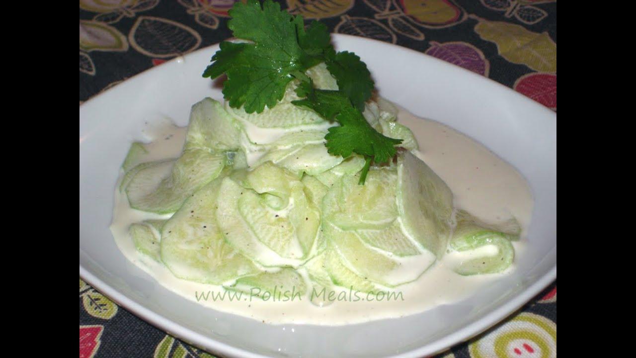Polish Food - Fresh Cucumber Salad (Mizeria) Recipe - YouTube