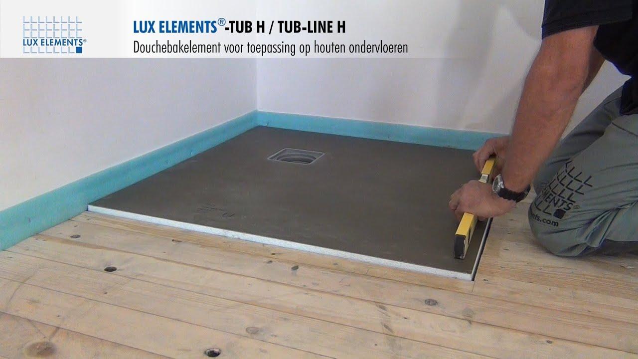 LUX ELEMENTS montage: met de vloer gelijkgewerkte douchebakken TUB-H ...