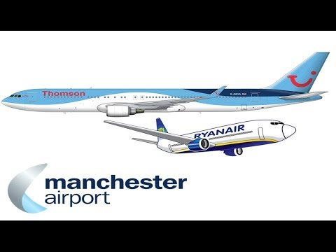 Thomson Airways Taking off from Manchester Airport (Shows Ryanair too!)