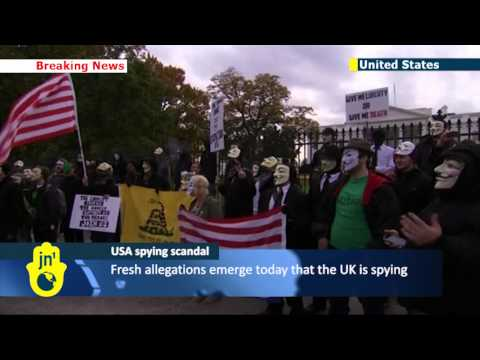 Online activist group Anonymous leads anti-NSA protest march to White House in Washington DC