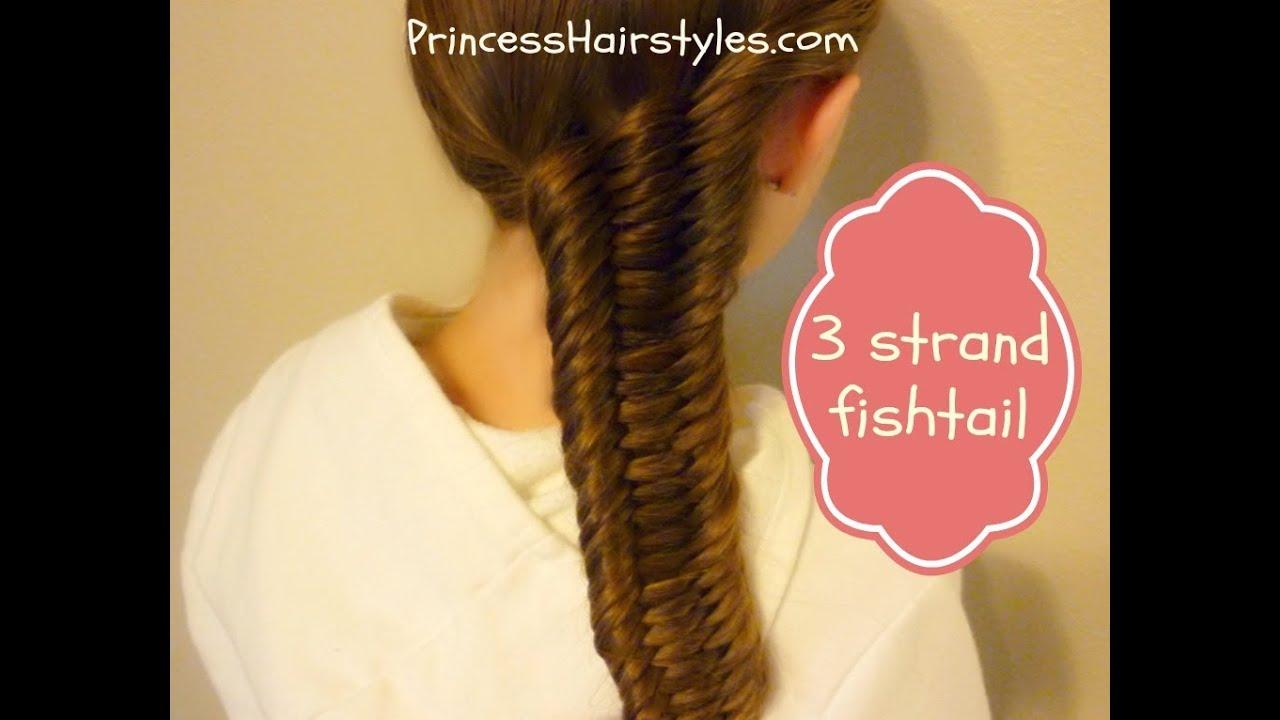 Three (3) Strand Fishtail Braid Tutorial - YouTube