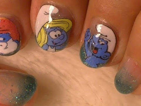 Smurfs Nail Art -- No Drawing Needed!, Fablous Smurf Nail DESIGNS! NO DRAWING NEEDED!