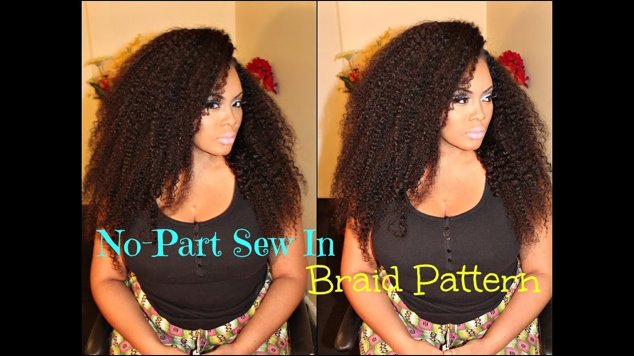 No-Part Sew in Braid Pattern with Sway Hair - KINKY TEXTURE - YouTube