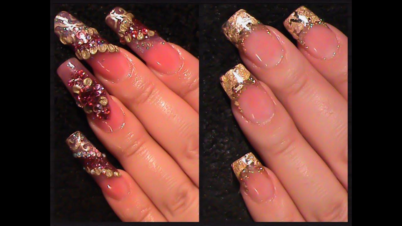 U as acrilicas cambio de dise o acrylic gold nails youtube for Disenos de unas