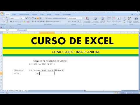 Curso de Excel Como Elaborar uma Planilha no Excel Como fazer uma Planilha no Excel para Iniciantes