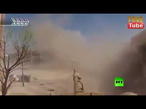 """مواجهة مباشرة بين قائد دبابة في الجيش السوري وحامل """"ار بي جي"""""""