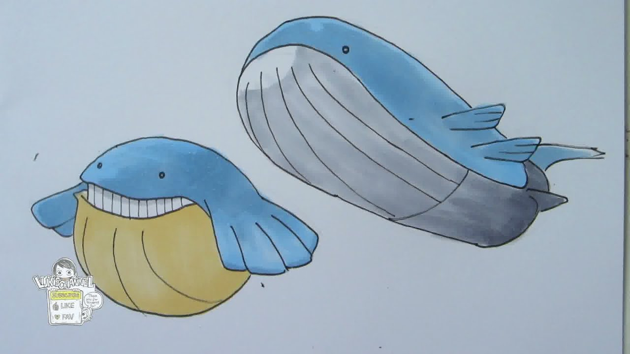 How to draw Pokemon: No. 320 Wailmer, No. 321 Wailord ... Wailord Pokemon