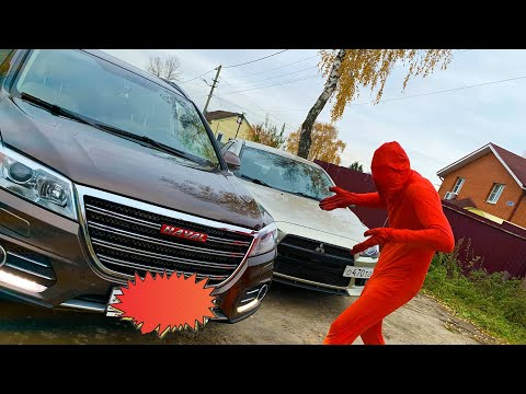 Big Car BLOCKED Road VS Red Man on Super Car in Funny Race for kids