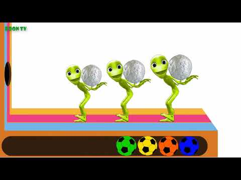 #Funny Alien Dance with Aluminum foil balls Learn colors and Song for kids
