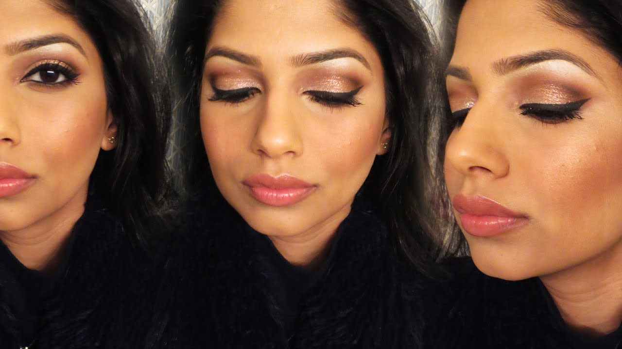 Gold Glitter Party Makeup For Indian/Brown/Olive Skin! Indian Wedding Makeup! - YouTube