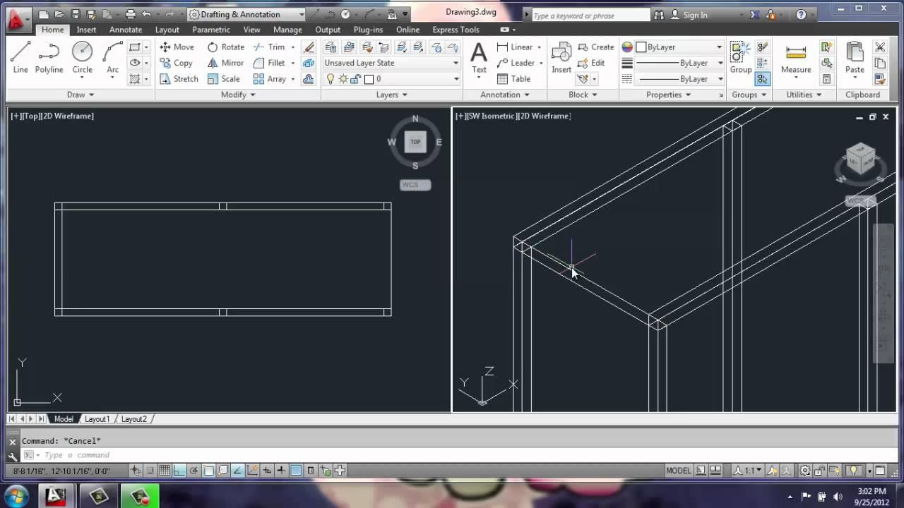 Autocad 2013 3d modeling basics adjustable cabinet for Kitchen set 2d
