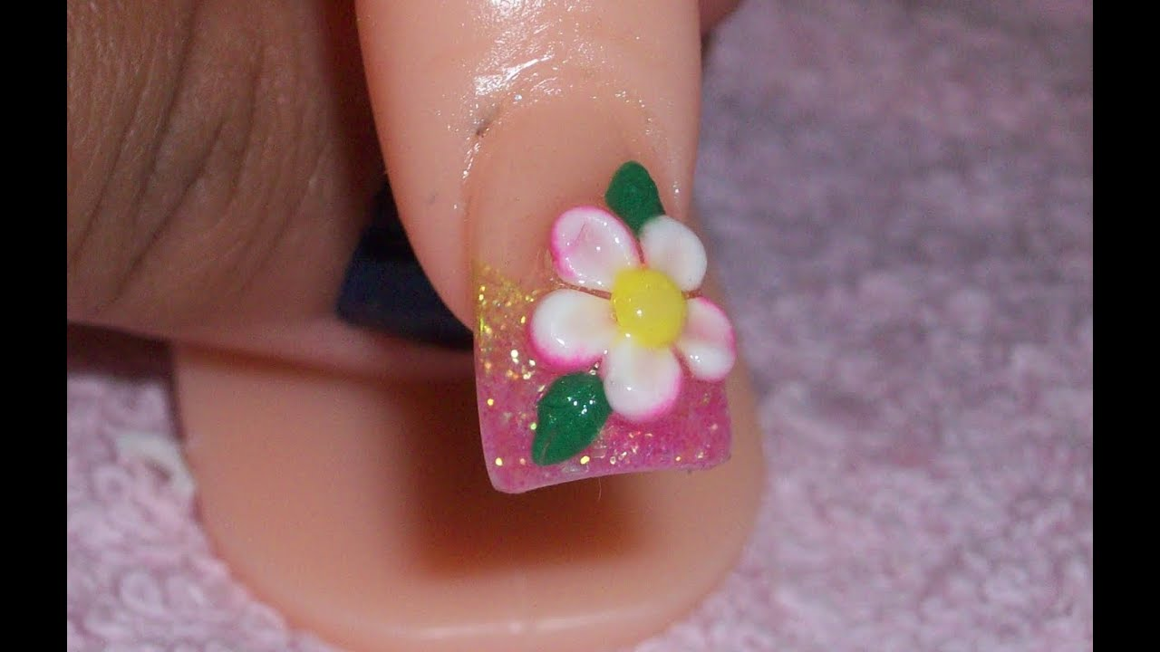 Acrylic Nail Design-Yellow & Pink Glitter Fade With 3D Flower ...