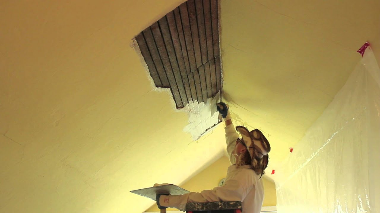 How to repair interior plaster on a ceiling youtube for Interior stucco ceiling repair