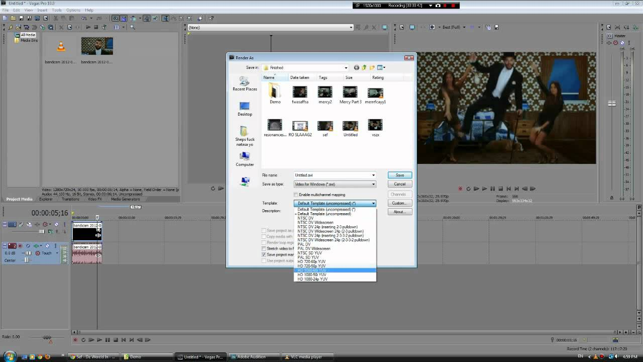how to get rid of the a track sony vegas