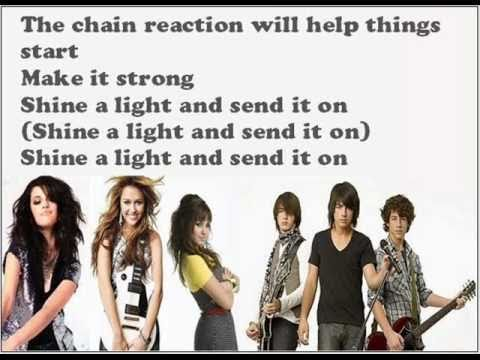 miley cyrus, demi lovato, selena gomez, jonas brothers - send it on lyrics on the screen