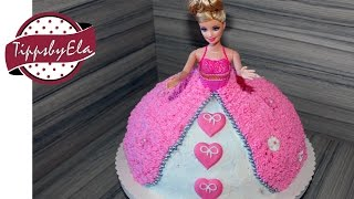 how to make a princess barbie doll cake with whipped cream or icing
