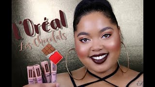 L'oreal Les Chocolats Liquid Lipstick Review + Try On Session | KelseeBrianaJai