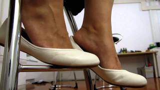 White Ballerina Flats Dangling