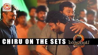 Chiranjeevi Meets Prabhas On The Sets Of Baahubali 2..