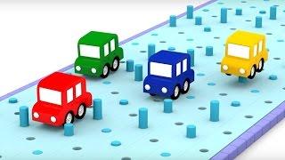 🏁PISTA de carreras🚗🚕  4 coches coloreados 🚗🚕 Dibujos animados de coches