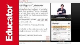 """Final Consonants and Final Es""   Advanced English Grammar with Educator.com"