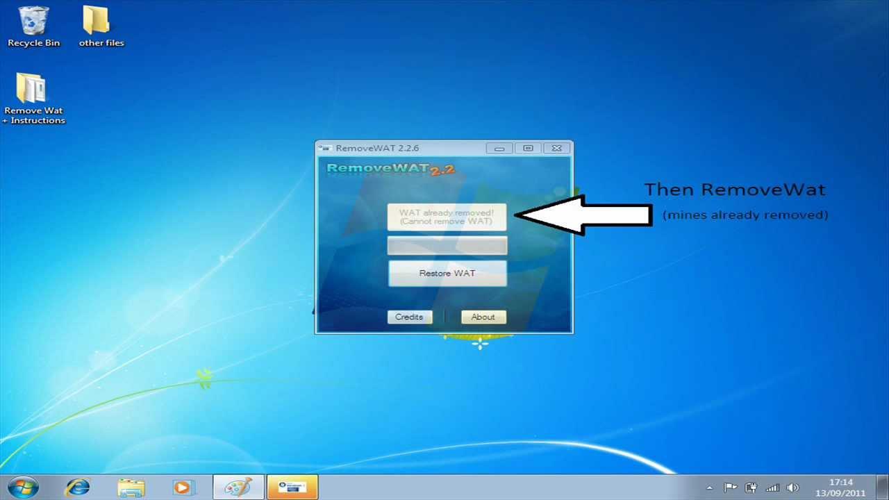 Немаловажен тот факт, что активатор windows 7 removewat 2. 6 способен пройт