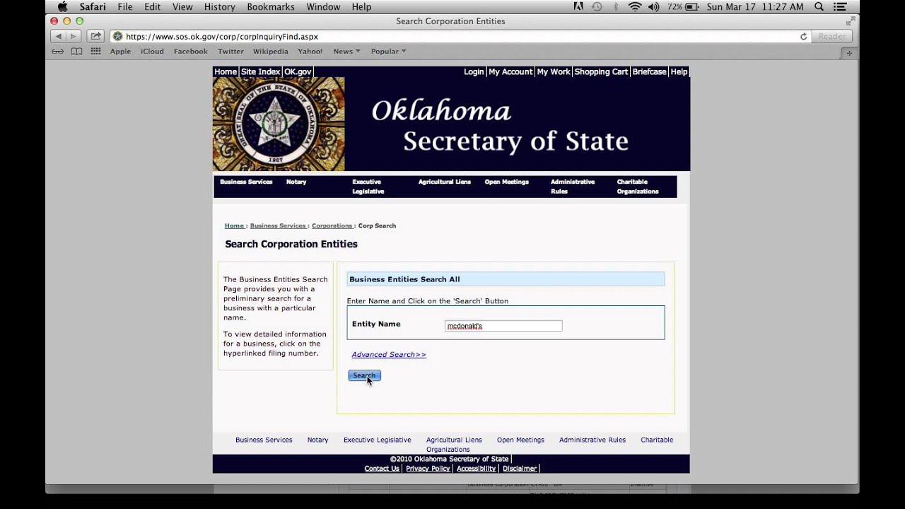 Oklahoma Secretary of State Corporation and Business ...