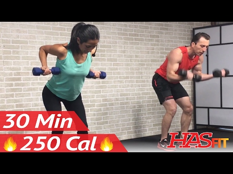 30 Min Back and Bicep Workout for Women & Men - Back and Biceps Exercises at Home with Dumbbells