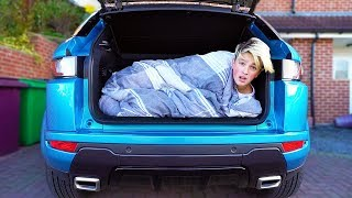 I Spent the Night in Mums New Car & She Caught Me!! (24 Hour Overnight Challenge)