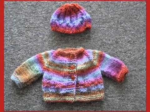 Baby Sweater And Hat Knitting Patterns - YouTube