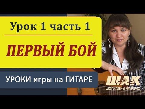 Уроки гитары для начинающих. Первый бой. Урок 1 Часть 1. Видеоурок игры на гитаре.