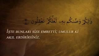 En'am Suresi 151-153. Ayetler Ve Türkçe Meali