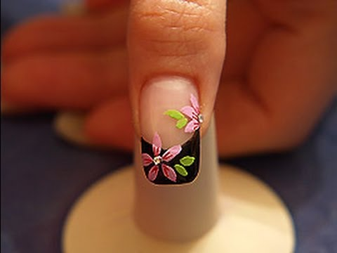 Flower design with nail lacquer and strass stones - YouTube
