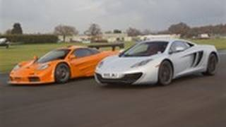 McLaren F1 Takes On The MP4-12C On Track