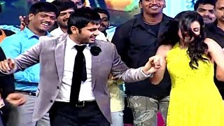 Nithin dances on stage at Chinnadana Neekosam audio launch