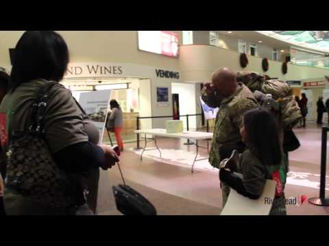 Afghanistan vet greets his family at the airport
