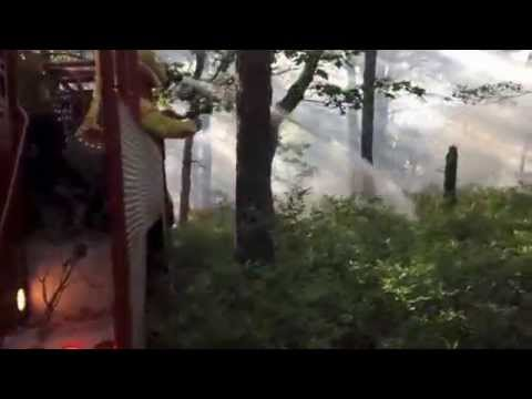 Riverhead firefighters fight brush fire