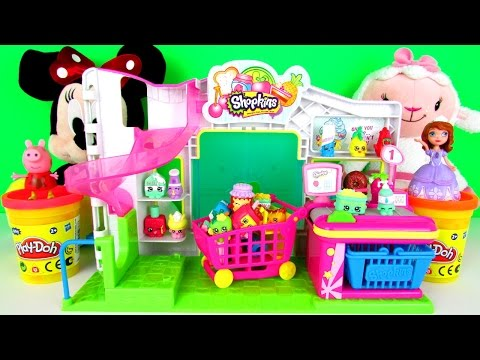 Shopkins Small Mart Playset Toy Review, Play Doh Disney Minnie Mouse Doc McStuffins Sofia Peppa Pig
