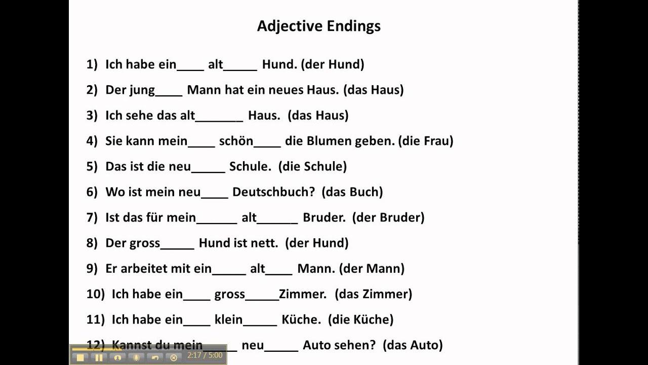 Adjektivendungen - Lessons - Tes Teach