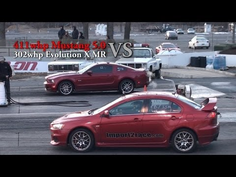 411whp Mustang 5.0 Vs 302whp Evolution X MR race#9