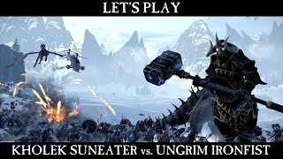 Total War: Warhammer - Kholek Suneater vs. Ungrim Ironfist Gameplay