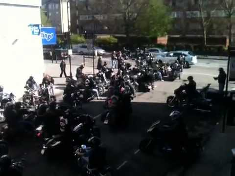 Hells Angels leave London clubhouse May 4th 2013