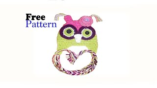 FREE CROCHET PATTERN OWL HAT, BEANIE TUTORIAL