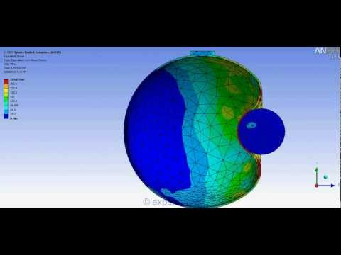 Ansys Workbench FEA of impact of solid sphere on hollow sphere penetration (half section)